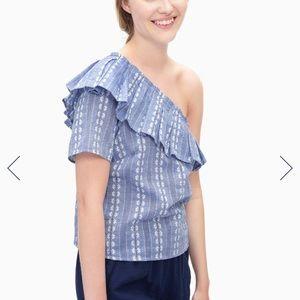 Splendid size medium blue and white blouse